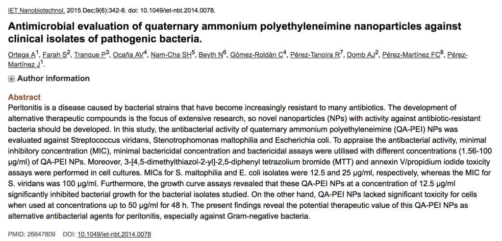 Antimicrobial evaluation of quaternary ammonium polyethyleneimine nanoparticles against clinical isolates of pathogenic bacteria.